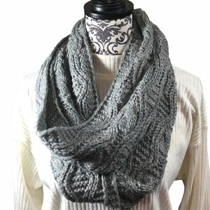 Melrose & Market Infinity Scarf Gray Cable Knit
